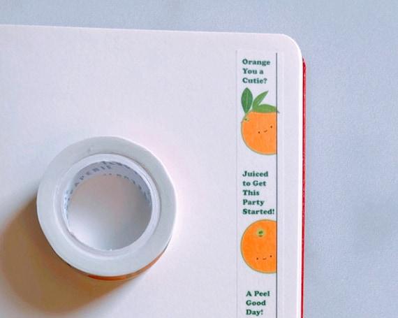 Orange Cuties Vertical Washi Tape, Pattern Paper Tape, Gift Wrap, Stocking Stuffer, Journal, Planner, Holiday, Gifts