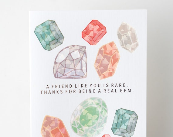 Thanks for Being a Gem Friendship Holographic Foil Greeting Card