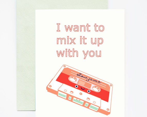 I Want to Mix It Up With You 80s Nostalgic Mixtape Greeting Card