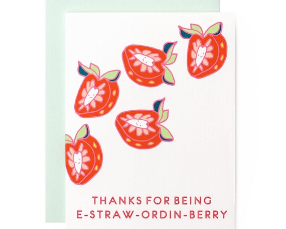 Ex-Straw-Ordin-Berry Strawberry Extraordinary Thank You A2 Greeting Card