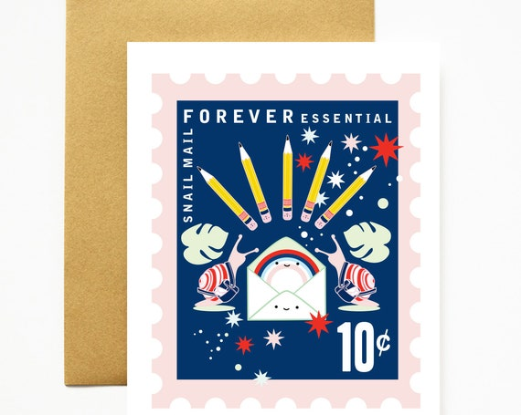 NEW COLORS! Snail Mail Forever Essential Stationery Love A2 Greeting Card