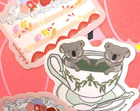 Koala-tea Koalas in a Tea Cup with Two Slices of Cake Sticker Set of 3