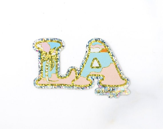 NEW** LA Los Angeles Glitter Single Sticker