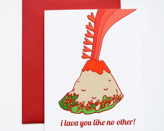 Lava Love You Like No Other Volcano Embossed Greeting Card