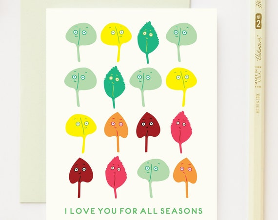 Love You For All Seasons Valentines Love Greeting Card
