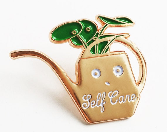 NEW! Self Care Rose Gold Watering Can Enamel / Lapel Pin