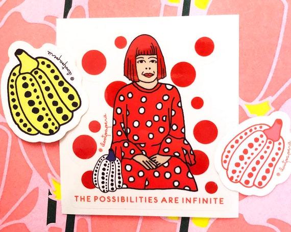 NEW** Yayoi Kusama Set of 3, with one Yayoi Kusama clear sticker, two Pumpkins opaque stickers