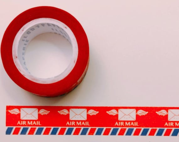 Air Mail Winged Envelopes Washi Tape, Pattern Paper Tape, Gift Wrap, Stocking Stuffer, Journal, Planner, Holiday, Gifts