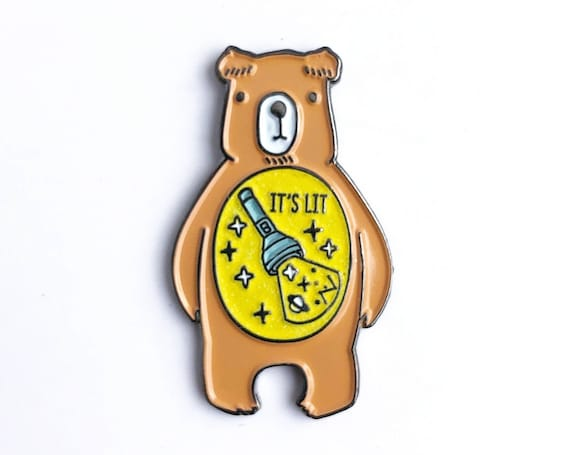 NEWLY UPDATED!** It's Lit Camp Flashlight In The Belly - Glow in the Dark Bear Enamel Pin