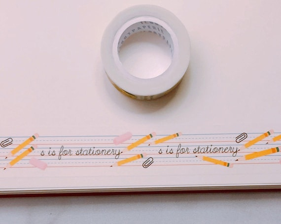 S is for Stationery Washi Tape, Pattern Paper Tape, Gift Wrap, Stocking Stuffer, Kawaii Tape, Journal, Planner, Holiday