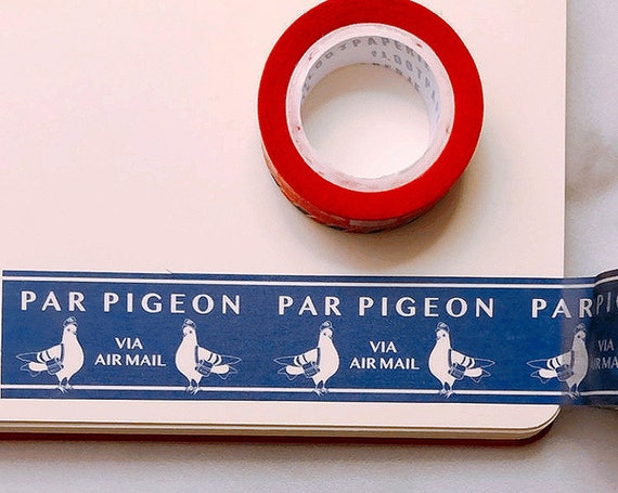 Par Double Pigeon Navy Washi Tape, Pattern Paper Tape, Gift Wrap, Stocking Stuffer, Kawaii Tape, Journal, Planner, Holiday