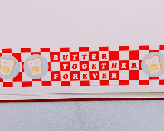 Butter Together Picnic Washi Tape, Pattern Paper Tape, Gift Wrap, Stocking Stuffer, Kawaii Tape, Journal, Planner, Holiday