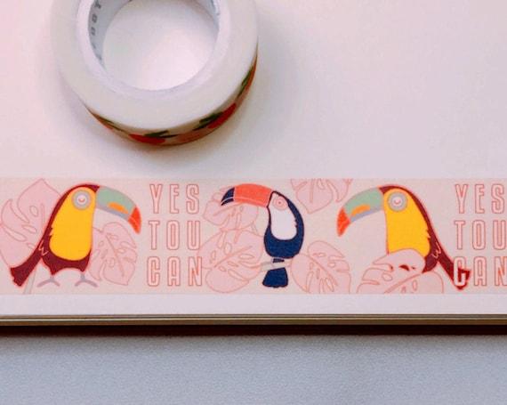 Yes Toucan Washi Tape, Pattern Paper Tape, Gift Wrap, Stocking Stuffer, Kawaii Tape, Journal, Planner, Holiday