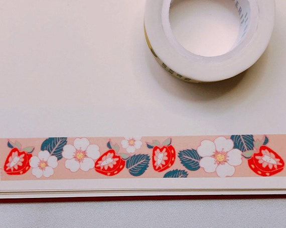 Wild Strawberry and Strawberry Flower Toss Washi Tape, Pattern Paper Tape, Gift Wrap, Stocking Stuffer, Journal, Planner, Holiday, Gifts
