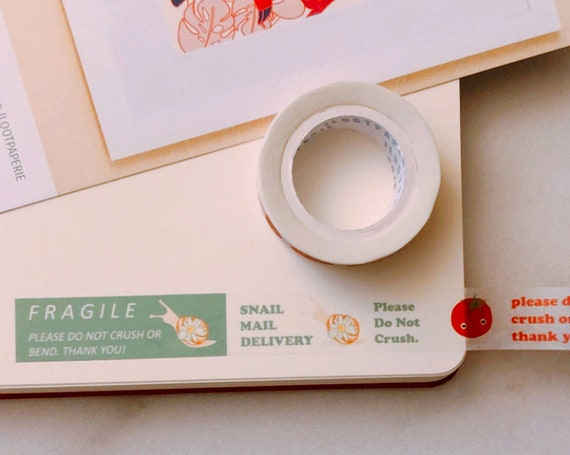 Don't Crush Tomato / Fragile Snail Mail / Snail Mail Delivery Combo Washi Tape, Stocking Stuffer, Journal, Planner, Holiday, Gifts