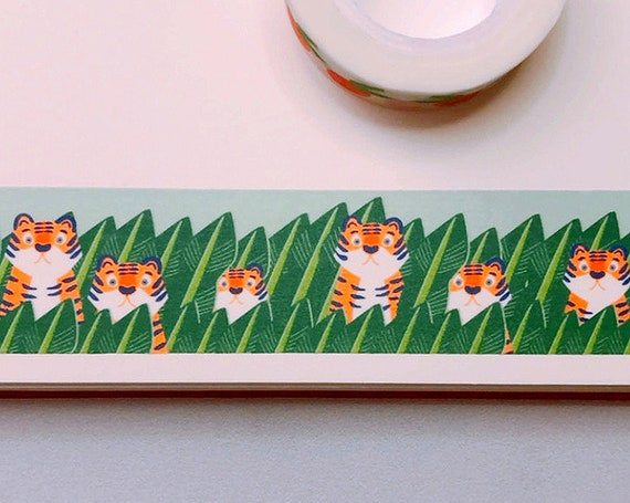 Fierce Tigers Washi Tape, Pattern Paper Tape, Gift Wrap, Stocking Stuffer, Kawaii Tape, Journal, Planner, Holiday