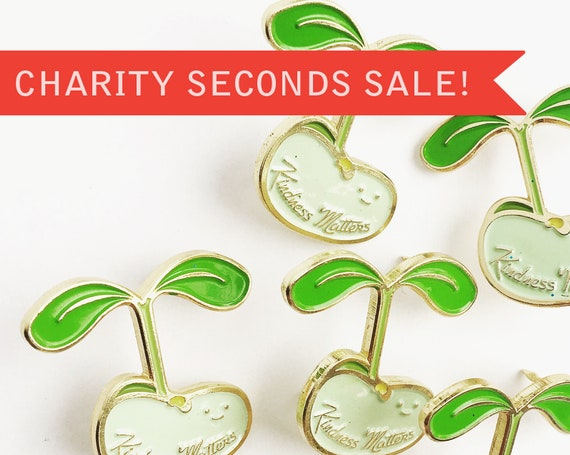 CHARITY SECONDS SALE ** Enamel Pin Seconds - Send Love Envelopes, Spinning Beach Ball, Stacks on Stacks Books, Kindness Matters and More!