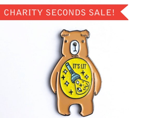 CHARITY SECONDS SALE ** New It's Lit Camp Flashlight In The Belly - Glow in the Dark Bear Enamel Pin