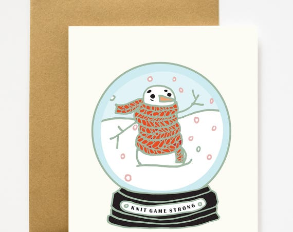 Knit Game Strong Snowman Christmas Greeting Card