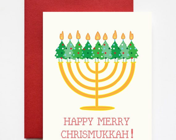 Merry Chrismukkah Christmas and Hanukkah Greeting Card