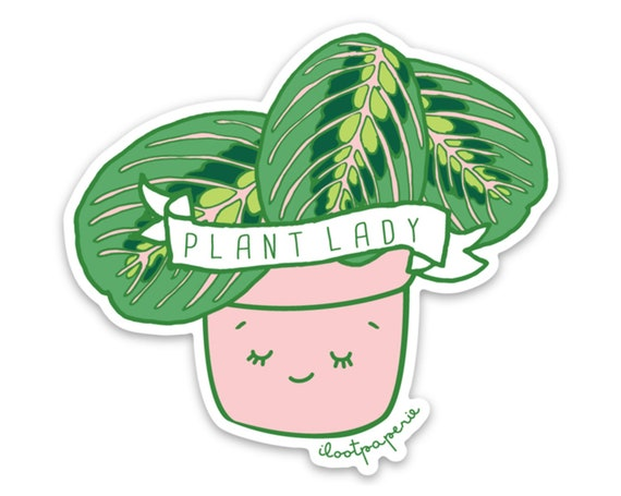 Plant Lady Sticker Pack of 3 with Plant Lady, Vintage Water Can and Happy Plant