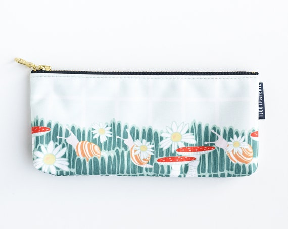 Woodsy Mushrooms and Snail Stroll Pencil Pouch / Make Up Bag