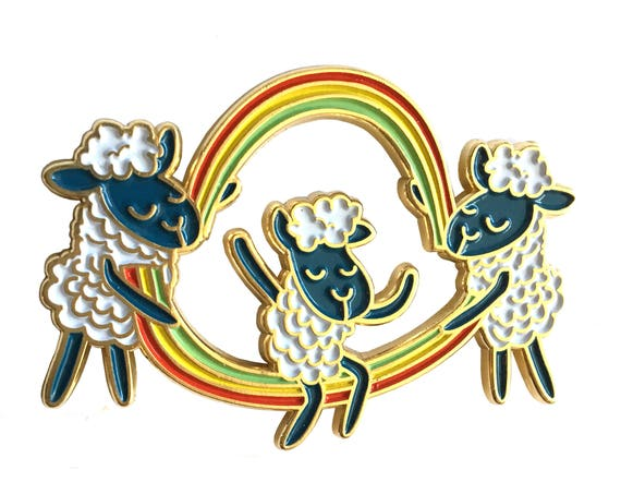 Double Dutch Rainbow Cloud Sheep Enamel / Lapel Pin