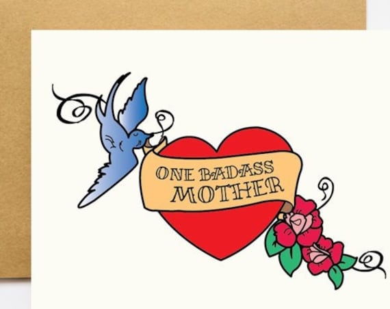 One Badass Mother Tattoo Mother's Day Greeting Card
