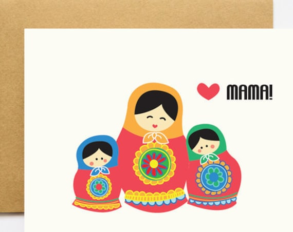 Russian Babooshka Doll Mother's Day Greeting Card