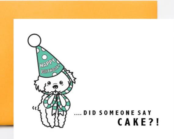 Puppy Birthday Hat & Cake Greeting Card