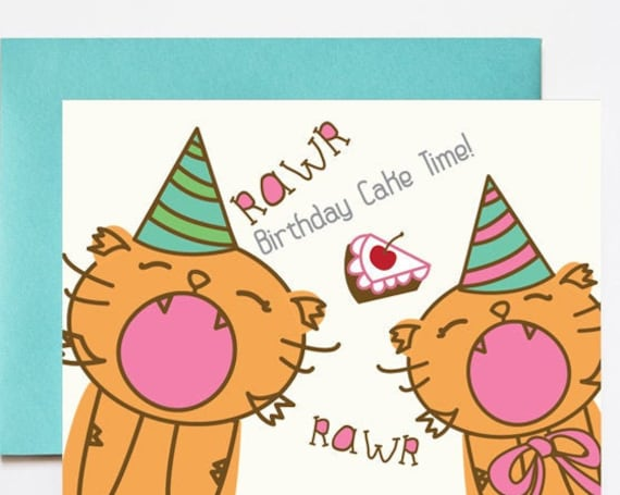 Tiger Cub Party Hats Birthday Greeting Card