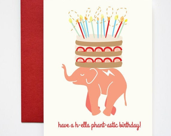 Hella phan tastic Elephant Birthday Cake Greeting Card