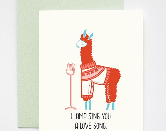 Llama Sing You a Love Song Love Greeting Card