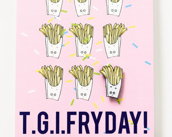 French Fry Enamel / Lapel Pin + TGIF Postcard Office Holiday Stocking Stuffer