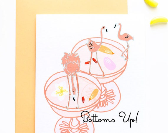 Bottoms Up Flamingo Cocktail Congratulations Celebratory Greeting Card