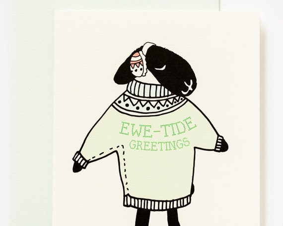 Ewetide Greetings Cozy Sweater Sheep Holiday A2 Christmas Card