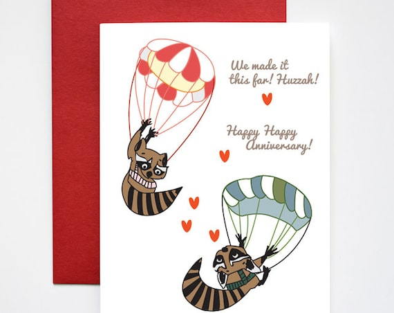 Sky Diving Raccoons Happy Anniversary Love Greeting Card