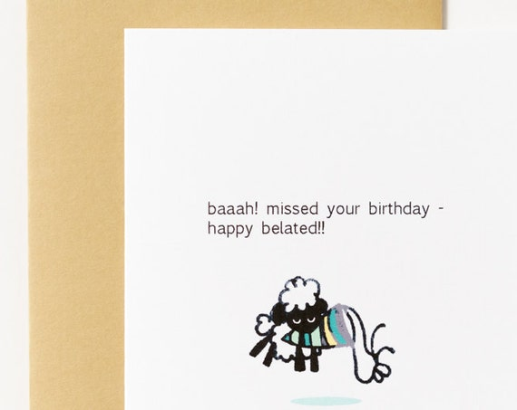 Bah Sheep Belated Birthday Greeting Card