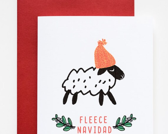 Fleece (Feliz) Navidad Little Sheep Punny Holiday A2 Greeting Card