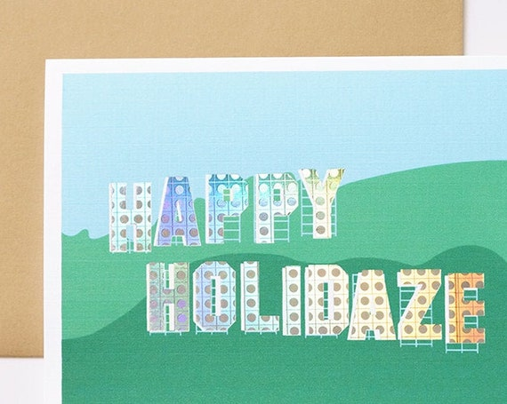 Happy Holidaze Holographic Foil Greeting Card - Set of 5