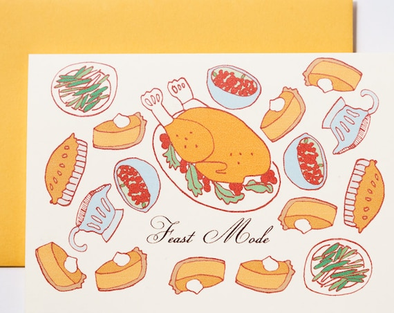 Feast Mode Thanksgiving Friendsgiving Thank You Holiday Greeting Card