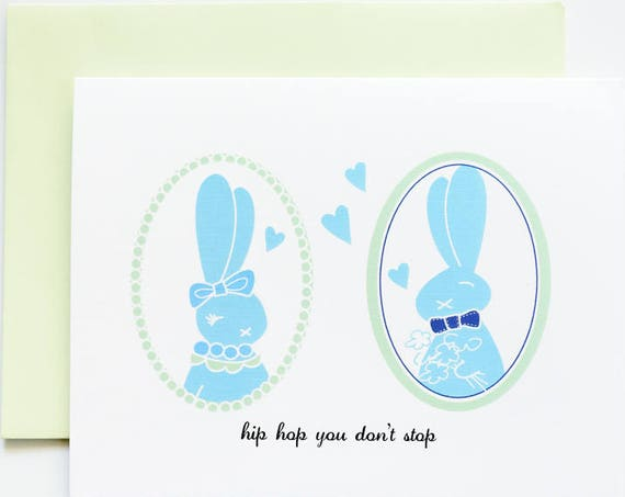 Hip Hop Bunnies Easter Love Greeting Card
