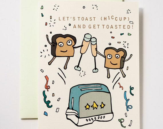 Tipsy Toast New Years Celebration Holiday Greeting Card