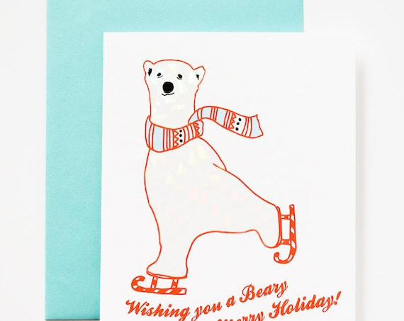 Polar Bear Beary Merry Xmas / Christmas with Holographic Foil Detail Set of 5 Greeting Cards