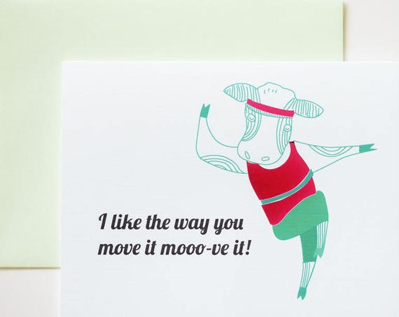 I Like the Way You Moo-ve It 80s Aerobic Cow with Magenta Foil Greeting Card