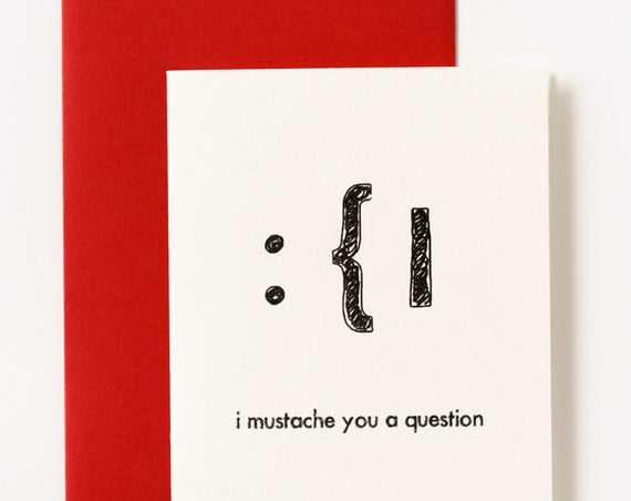 Mustache Will You Be Mine Valentine's Greeting Card