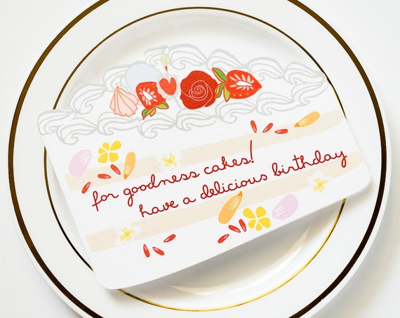 For Goodness Cakes! Delicious Cake Die Cut Birthday Greeting Card