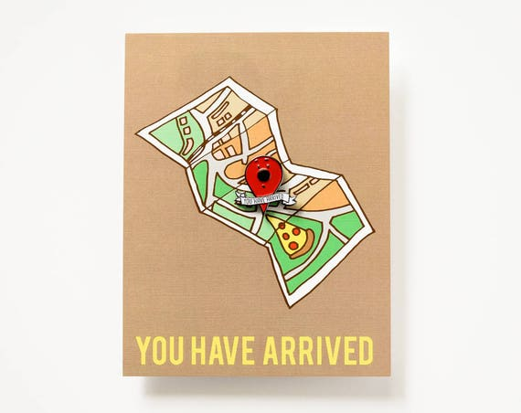Location Enamel / Lapel Pin + You Have Arrived Postcard