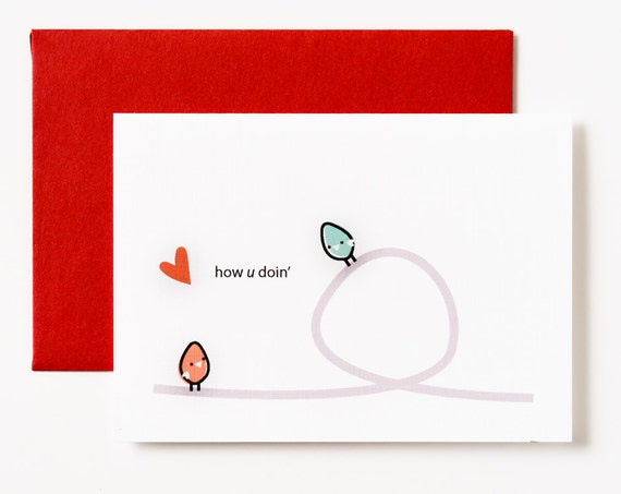 How U Doin' Birdies Love Greeting Card