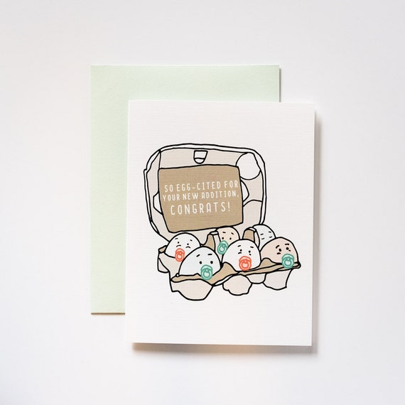Egg Cited Baby Shower Congratulations Greeting Card Etsy